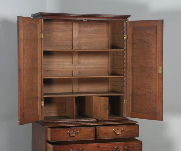 Antique English Georgian Oak Bookcase Cupboard Incorporating A Chest Of Drawers Circa 1800