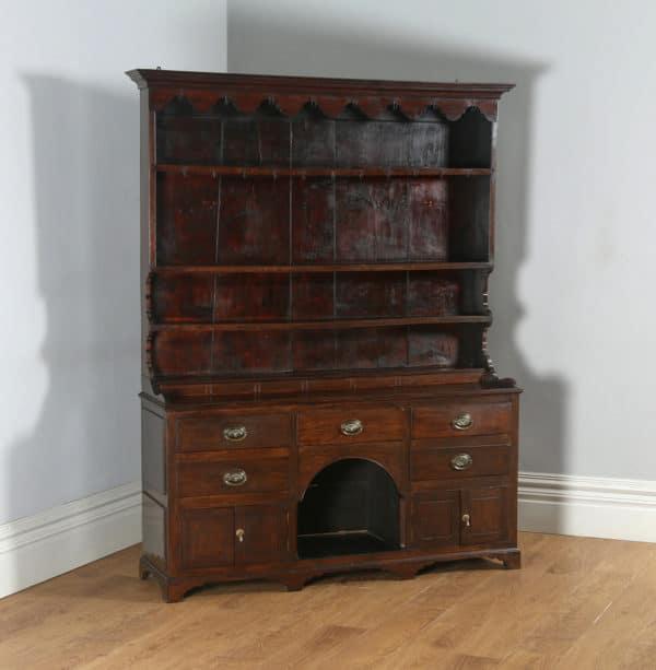 Antique Welsh Georgian Oak Dresser Base & Rack Sideboard Cupboard (Circa 1800) - yolagray.com