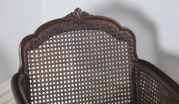 Antique English Edwardian Three Piece Mahogany & Cane Bergere Suite (Circa 1910) - yolagray.com