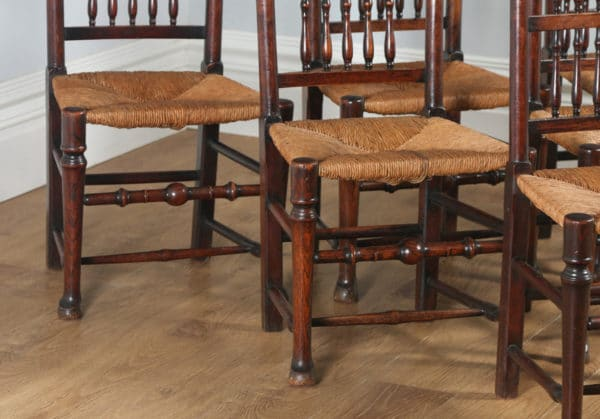 Antique Set of Six English Georgian Ash & Elm Spindle Back Country Farmhouse Kitchen Dining Chairs (Circa 1790) - yolagray.com
