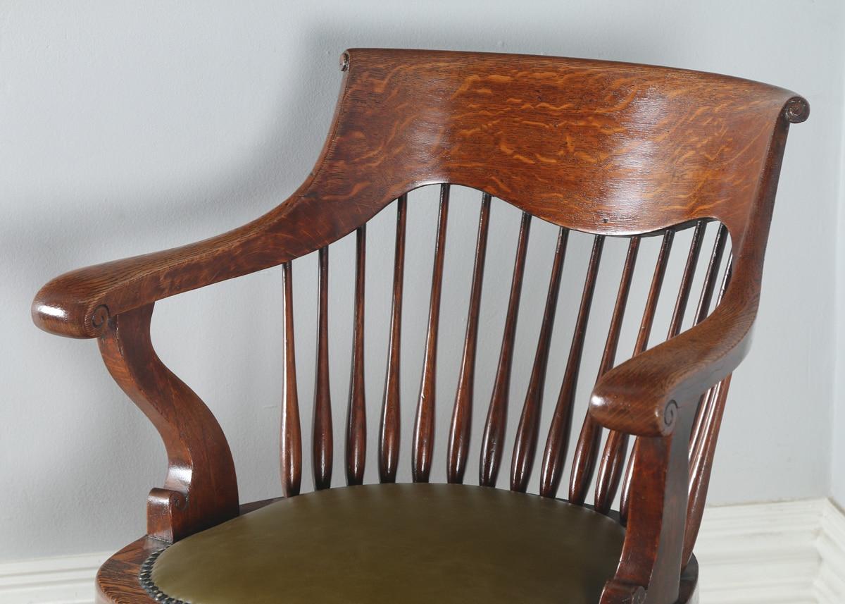 Antique English Edwardian Oak Revolving Swivel Office Desk