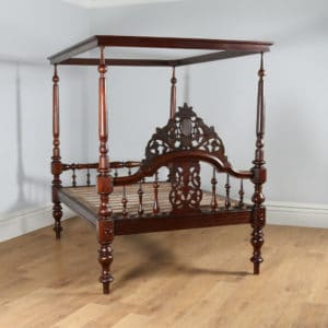 "Antique 4ft 6"" Victorian Anglo Indian Colonial Raj Teak Double Four Poster Bed (Circa 1880) - yolagray.com"