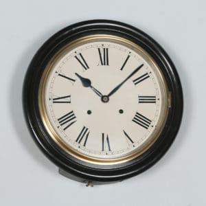 "Antique 16"" Mahogany Railway Station / School Round Dial Wall Clock (Chiming) - yolagray.com"