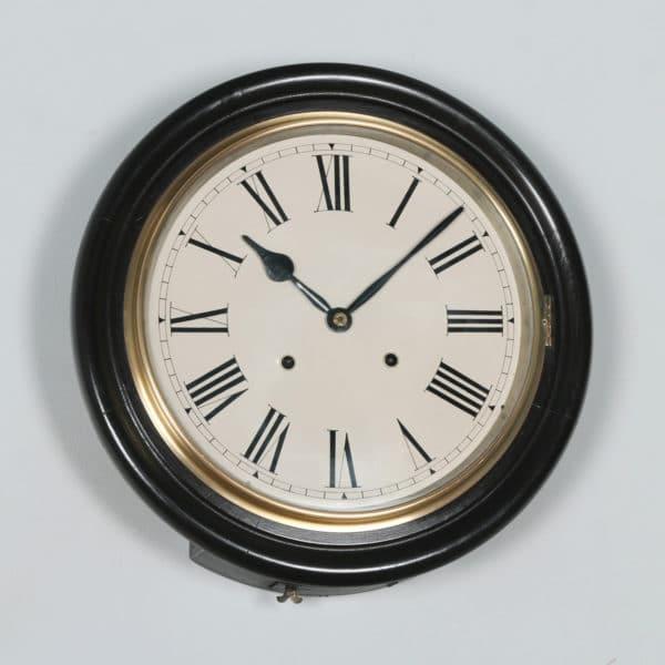 "Antique 16"" Mahogany Railway Station / School Round Dial Wall Clock (Chiming) - yolagray.com"