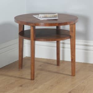 Art Deco French Figured Walnut Circular Centre Coffee Occasional Side Table (Circa 1930) - yolagray.com