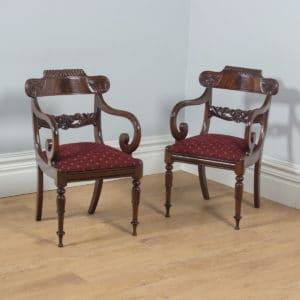 Antique English Pair of William IV Mahogany Library Office Arm Chairs (Circa 1830) - yolagray.com