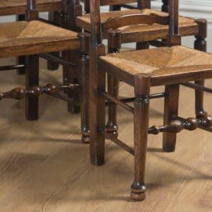 Antique Set of English Six Victorian Ash & Elm Ladder Back Farmhouse Chairs (Circa 1880) - yolagray.com