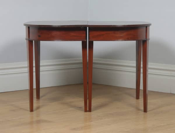 Antique English Georgian Regency Figured Mahogany D End Dining Table (Circa 1810) - yolagray.com