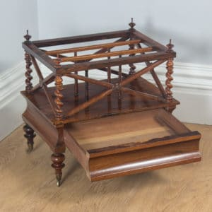 Antique English William IV Rosewood Canterbury Magazine Rack Tidy (Circa 1835) - yolagray.com