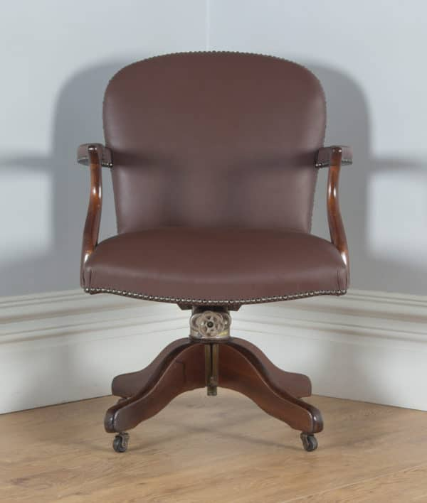Antique English George V Mahogany & Brown Leather Revolving Office Desk Chair by Maple & Co. (Circa 1920) - yolagray.com
