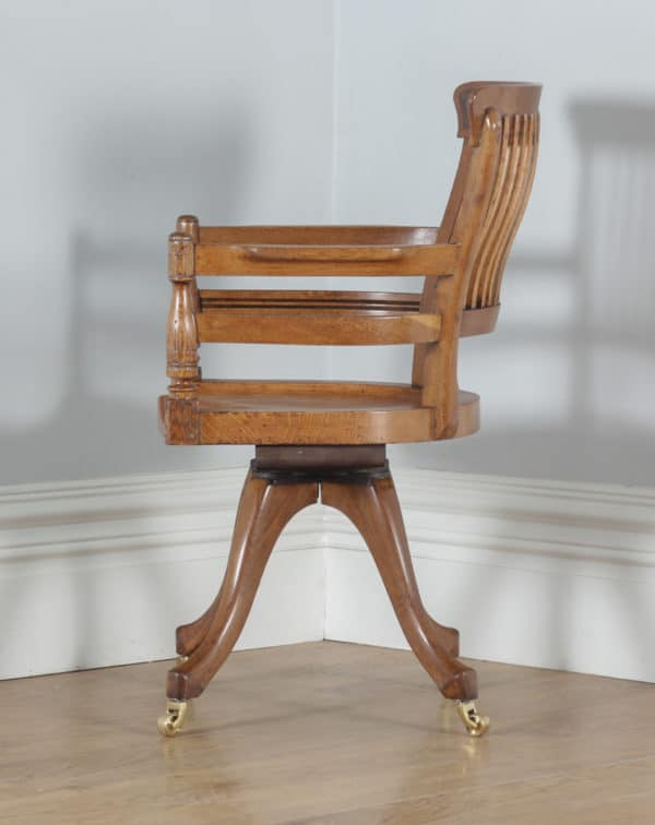 Antique English Victorian Oak & Burr Walnut Revolving Office Desk Arm Chair (Circa 1890)