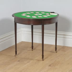 Antique English Georgian Regency Style Mahogany Folding Demi Lune Fold Over Card / Side Table (Circa 1900) - yolagray.com