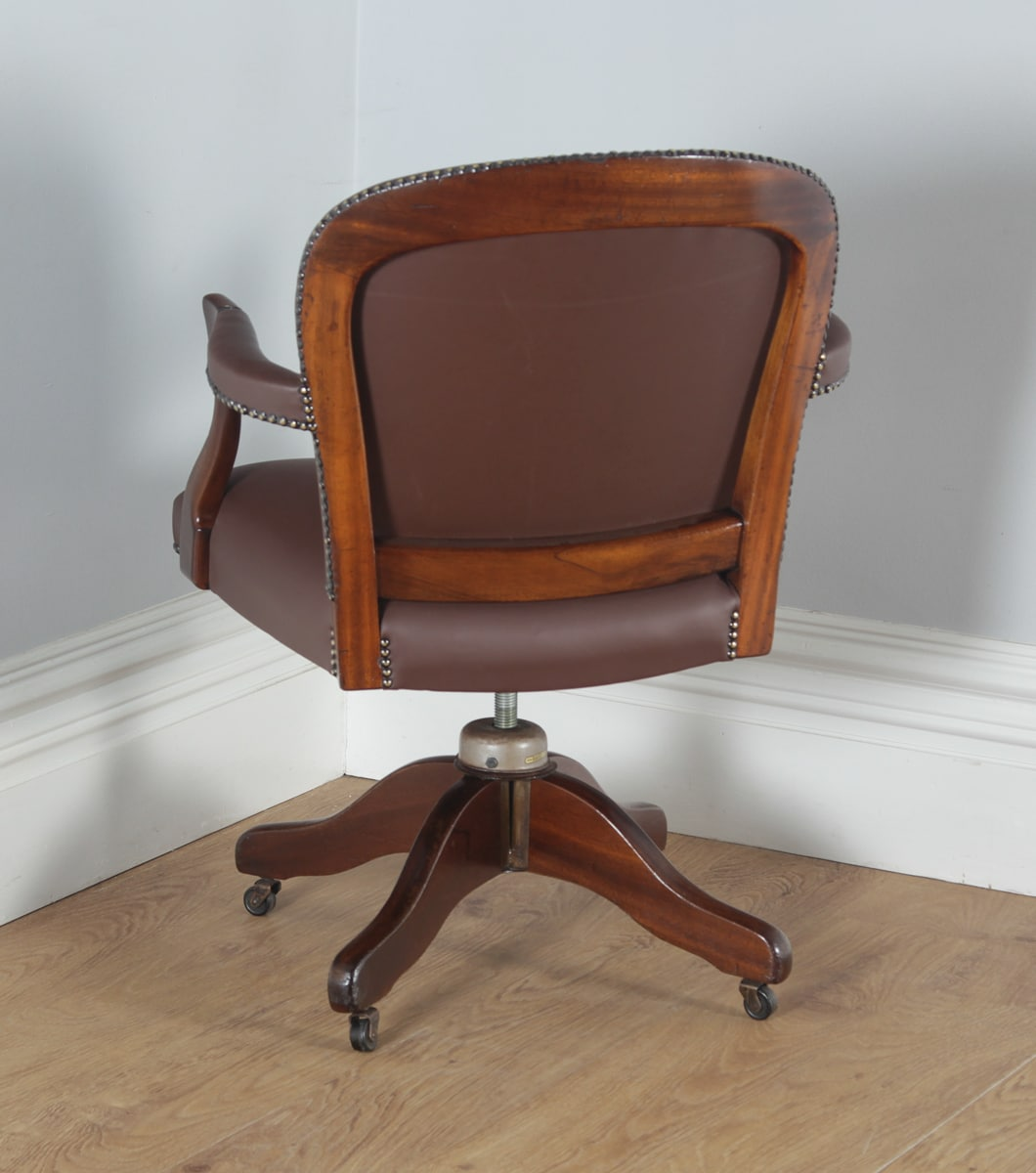 antique mahogany leather revolving office desk chair by maple co