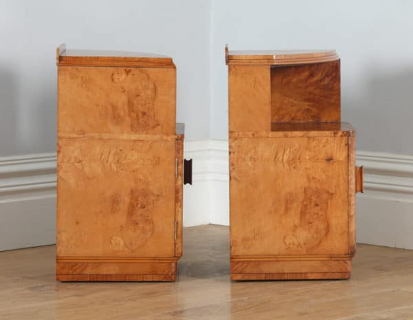 Antique Pair of English Art Deco Birds Eye Maple Bedside Cabinet Tables / Nightstands (Circa 1930) - yolagray.com