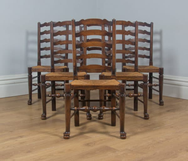 Antique Set of English Six Victorian Ash & Elm Ladder Back Farmhouse Chairs (Circa 1880) - yolagray.com