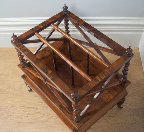 Antique English William IV Rosewood Canterbury Magazine Rack Tidy (Circa 1835) - yolagray.com