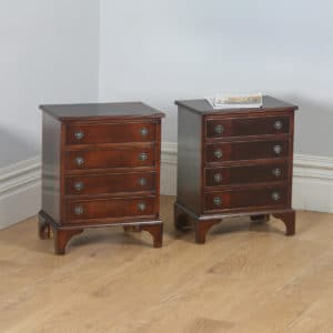 Pair of English Georgian Regency Style Mahogany Bachelor Bedside Chests of Drawers (Circa 1970) - yolagray.com