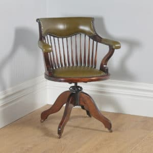 Antique English Edwardian Beech & Green Leather Revolving Swivel Office Desk Arm Chair (Circa 1910) - yolagray.com