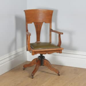 Antique American Edwardian Art Nouveau Oak & Leather Revolving Office Desk Arm Chair (Circa 1903) - yolagray.com