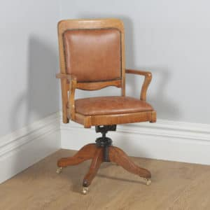 Antique English Edwardian Oak & Tan Brown Leather Revolving Office Desk Chair (Circa 1910) - yolagray.com
