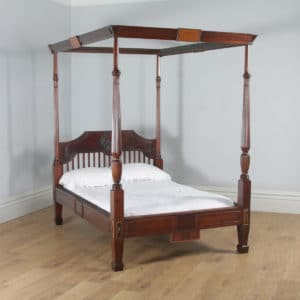 "Antique 4ft 6"" English Regency Mahogany Double Size Four Poster Bed (Circa 1820) - yolagray.com"