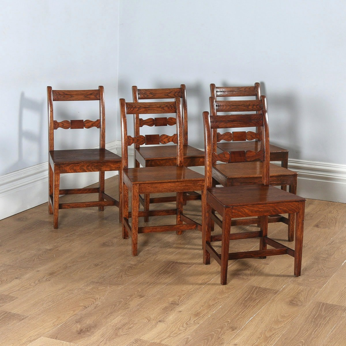 c3a93c494fff6 Antique English Set of Six Georgian Regency Provincial Cottage Oak   Elm  Kitchen Dining Chairs (