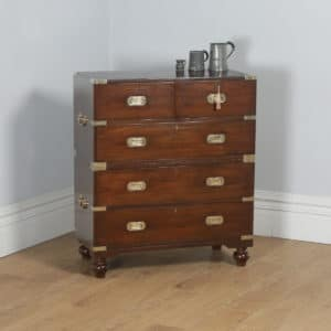 Antique Victorian Colonial Teak & Brass Military Campaign Chest of Drawers (Circa 1850) - yolagray.com