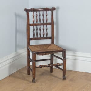 Antique English Single Georgian Ash & Elm Spindle Back Country Farmhouse Kitchen Dining Chairs (Circa 1790)- yolagray.com
