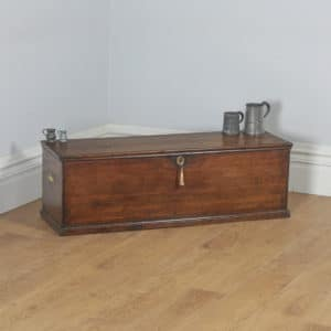 Antique English Georgian Oak Trunk Blanket Box Chest Ottoman (Circa 1780) - yolagray.com