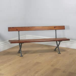 Welsh Victorian 6ft Pitch Pine & Cast Iron Railway Station Bench (Circa 1880) - yolagray.com