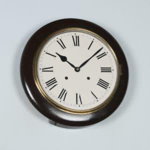 "Antique 14"" Mahogany Ansonia Railway Station / School Round Dial Wall Clock (Chiming) - yolagray.com"