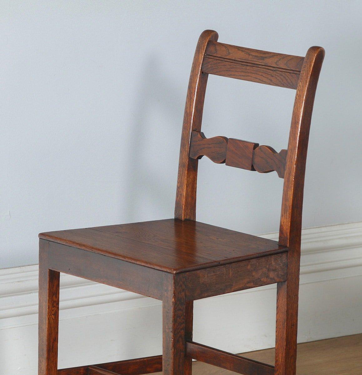 Antique Set of Six Regency Cottage Oak & Elm Kitchen Dining Chairs ...