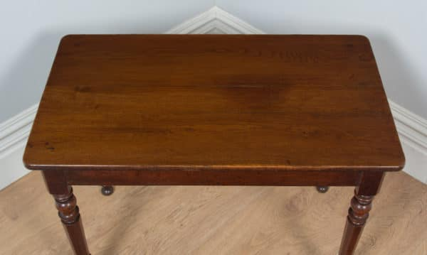 Antique French Pair of Oak Bistro Console Side Kitchen Hall Tables (Circa 1850) - yolagray.com