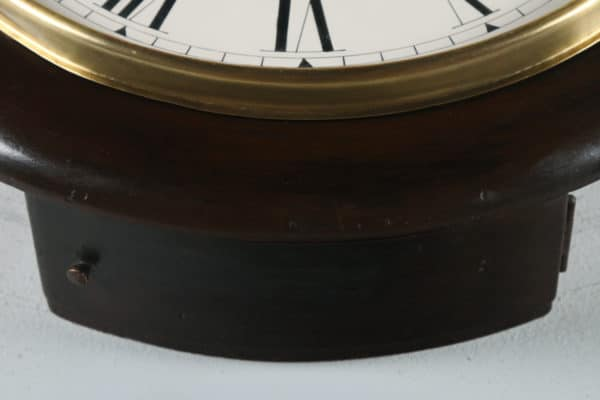 "Antique 14"" Mahogany Ansonia Railway Station / School Round Dial Wall Clock (Chiming) - yolagray.com"