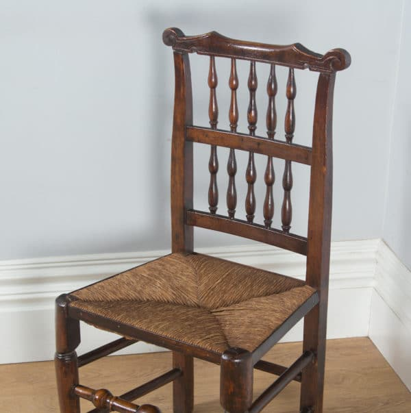 Antique Set of Five English Georgian Ash & Elm Spindle Back Country Farmhouse Kitchen Dining Chairs (Circa 1790)- yolagray.com