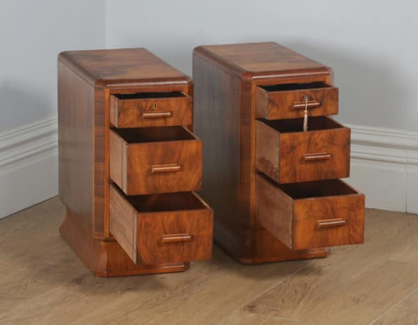 Antique English Pair of Art Deco Figured Walnut Bedside Chests / Tables / Nightstands (Circa 1930)- yolagray.com