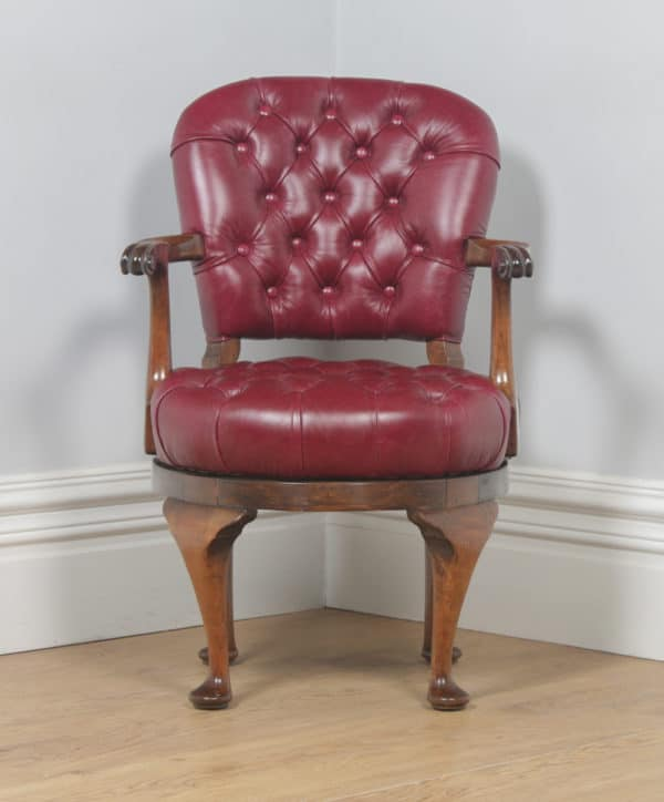 Antique English Queen Anne Style Walnut & Red Leather Revolving Office Desk Arm Chair (Circa 1890) - yolagray.com