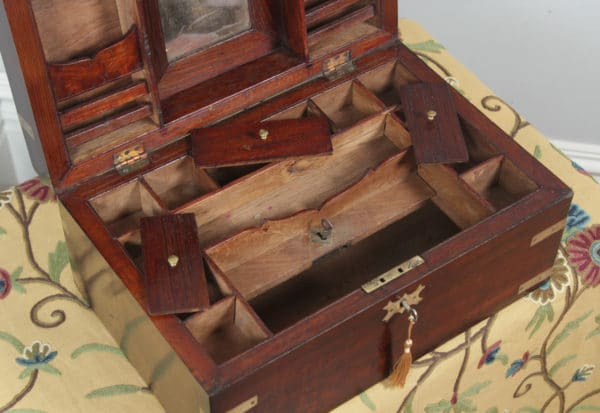 Antique Victorian Colonial Campaign Teak & Brass Inlaid Writing / Jewellery / Sewing Box (Circa 1880)- yolagray.com