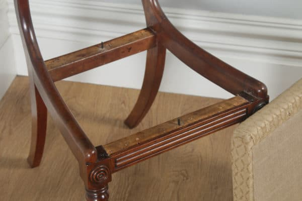 Antique English Pair of Regency Mahogany Dining / Side / Hall Chairs (Circa 1820) - yolagray.com