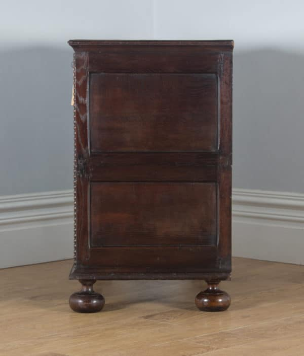 Antique English William & Mary Oak Panelled Geometric Chest of Drawers (Circa 1690) - yolagray.com