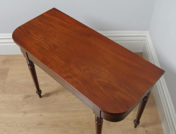 Antique English Pair of Georgian Mahogany D End Console Side Hall Tables (Circa 1820) - yolagray.com