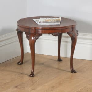 Antique English Queen Anne Style Carved Burr Walnut Circular Coffee Table (Circa 1920) - yolagray.com