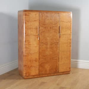 Antique English Art Deco Burr Maple, Satinwood & Walnut Three Door Compactum Wardrobe (Circa 1930) - yolagray.com