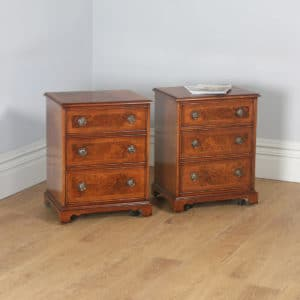 Pair of English Georgian Regency Style Burr Walnut Bachelor Bedside Chests of Drawers Cupboards (Circa 1980) - yolagray.com