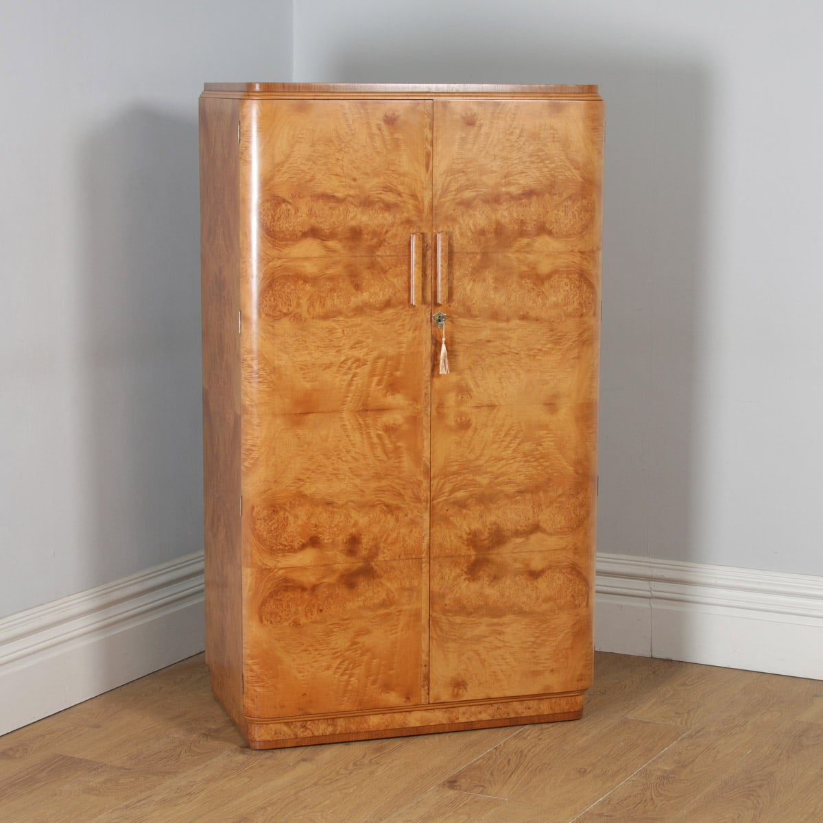 Edwardian Satinwood And Birdseye Maple Wardrobe Antique Furniture Edwardian (1901-1910)