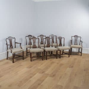 Set of Eight English Georgian Hepplewhite Style Mahogany Dining Chairs (Circa 1970) - yolagray.com