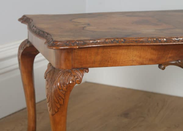 Antique English Queen Anne Style Carved Burr Walnut Rectangular Coffee Table (Circa 1920) - yolagray.com