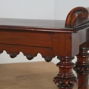Antique English Victorian Gothic Carved Mahogany Window / Hall Bench / Stool / Seat (Circa 1840) - yolagray.com