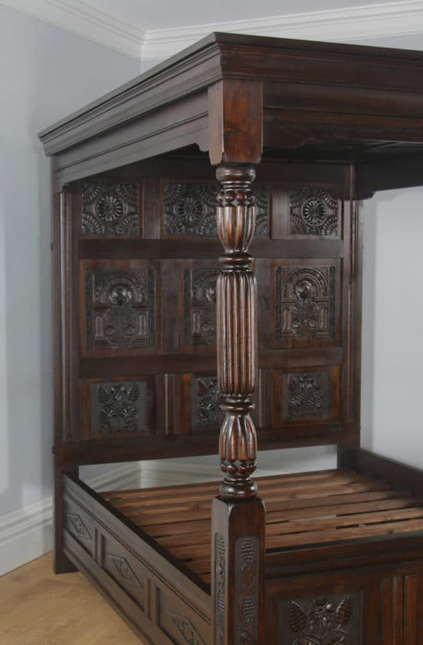 Tudor Style Carved King Size Oak Full Tester Four Poster Bed (5ft Wide) - yolagray.com