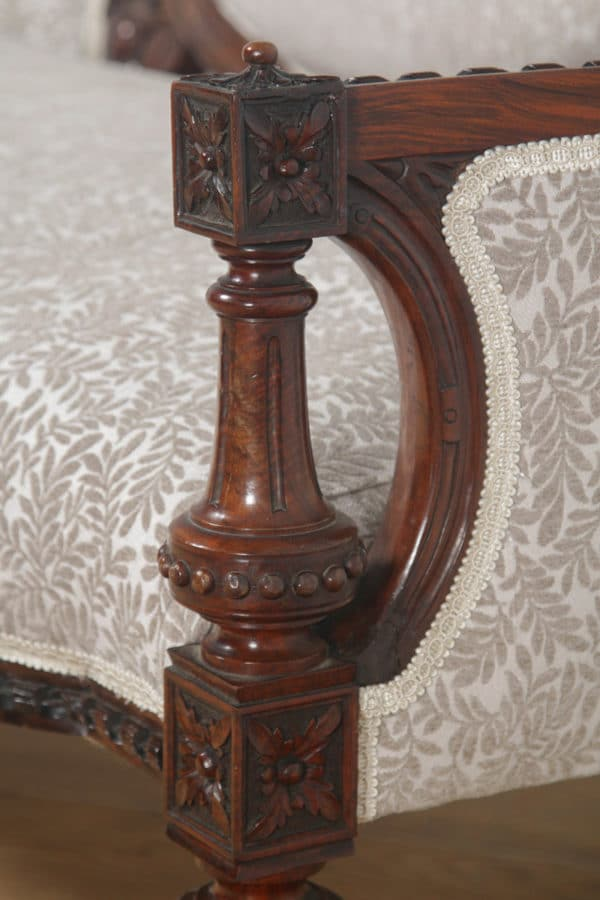 Antique English Victorian Walnut Upholstered Couch Sofa Settee (Circa 1860) - yolagray.com